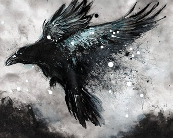 Crow art - 8x12in, A4, 21x30cm watercolor ink painting - flying in the strom
