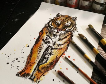 8x12 Ink  painting on canvas  - tiger watercolor painting