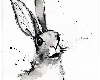 Easter Bunny painting- 8x12in, A4, 21x30cm ink painting - bunny rabbit in awe