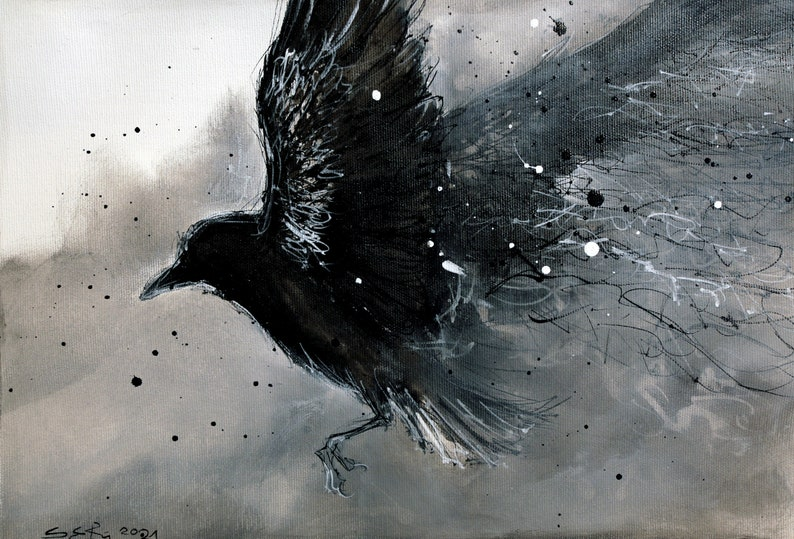 Original raven painting  A3  12x16 in   canvas sheet  image 0