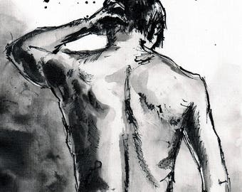 PRINT - Male nude figure sketch art print, 8x12, 16x12, 16x23,  A4, A3,A2 select size, canvas sheet, showering man- 8x11