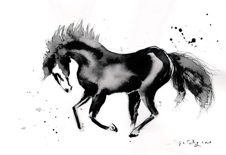 Black horse painting on PAPER A4 11x8 in image 0