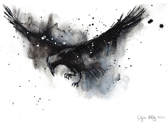 Original raven painting - A3 - 16x12in  - abstract bird painting - flying