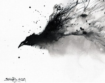 Original ink painting, raven art,  8x11 in canvas, A4, 21x30cm - black and white abstract flying raven