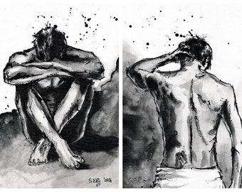 2 print set, 2 x  A4 8x12 Baryta fineart paper, male figure sketches, a showering and a sitting man sketch