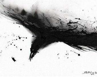 Original ink painting, raven art,  8x11 canvas, A4, black abstract flying raven
