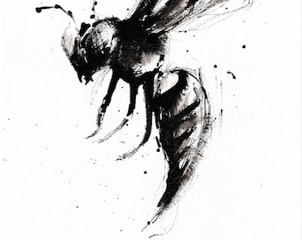 Wasp art 8x12in Ink painting A4 - abstract wasp art - entomology