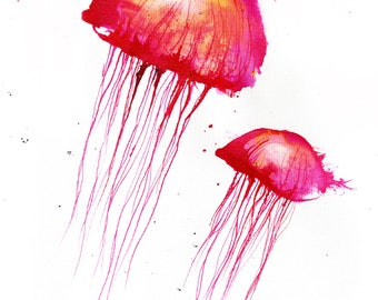 Jellyfish painting 8x12in, 21x30cm, A4 - canvas sheet -   red jellyfish -  abstract biology art