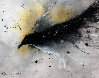 Raven painting - Ink on 8x11 in canvas, A4, 21x30cm - abstract flying raven