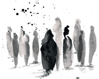 Sumi ink painting 8x12in, A4 on PAPER  - abstract crowd