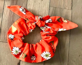 Scrunchies | Dainty Bugs Flowers Scrunchies | Floral Scrunchies | Insect Scrunchies | Scarf Scrunchie | Traditional Scrunchie | Hair Tie