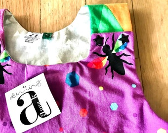 Dress  | Rainbow Bees Jumper | Rainbow Jumper Dress | Bee Dress | Sabine Jumper | Apron Dress with Pockets | Bold Colorful Children's Dress