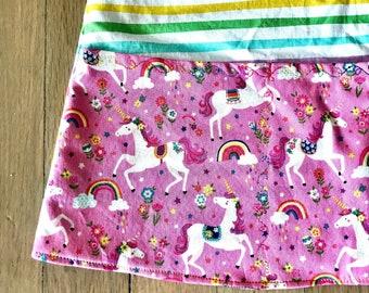 Dress  | Unicorn Rainbow Jumper | Rainbow Stripe Jumper Dress | Stripe Dress | Sabine Jumper | Apron Dress with Pockets | Children's Dress