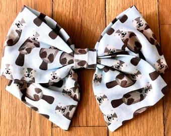 Hair Bow | Otter Hair Bows | Zoo Animals Hair Bow | River Otter Bow | Sailor Style Bow | Hand Folded Bow | Cotton Bows | STEM Hair Bows