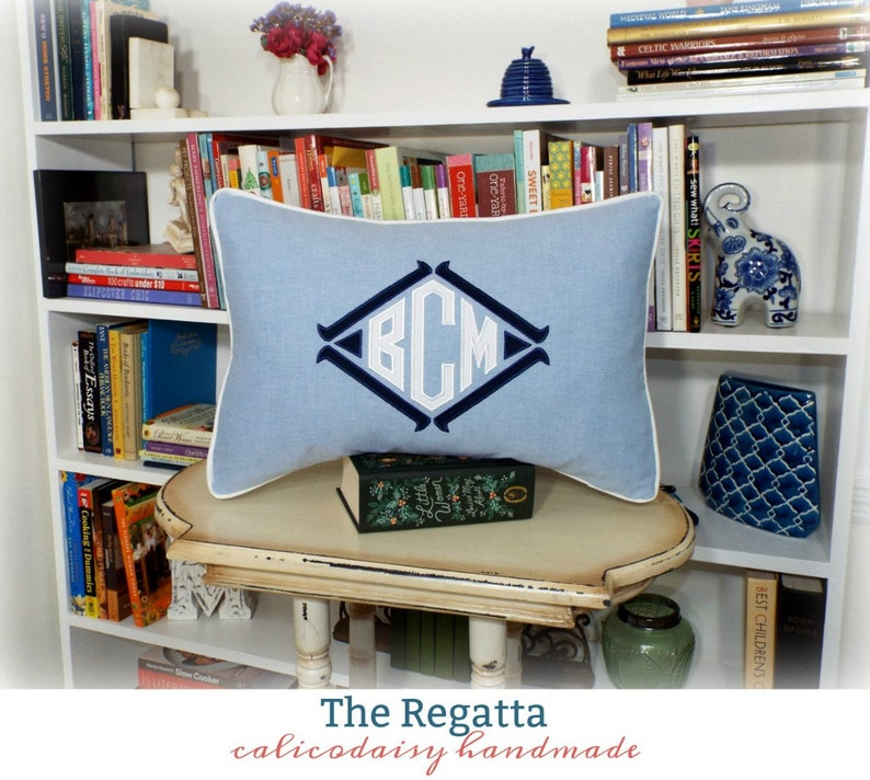 Choice of Size and Colors The Regatta Applique Monogram Pillow Cover or Sham