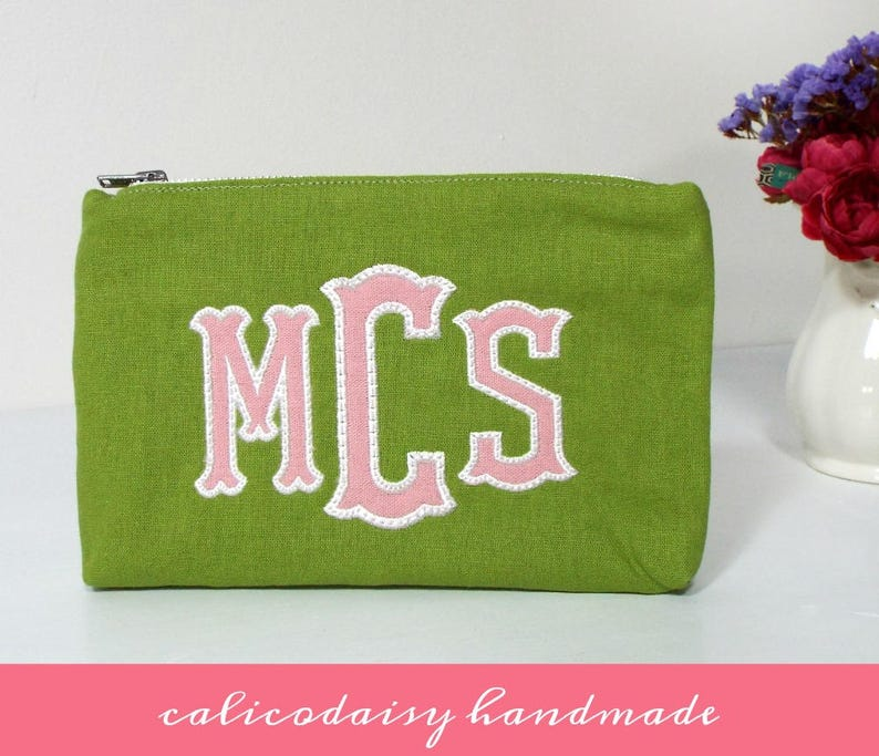 Applique Monogrammed Zipper Cosmetic Bag / Change Purse / image 0