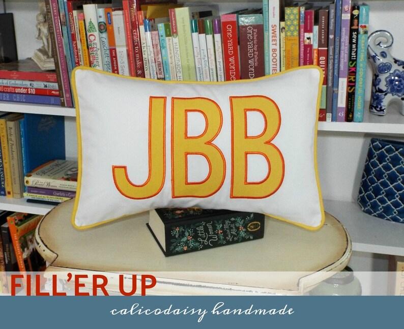 FILL'ER UP Large Applique Monogram Pillow Cover  12 x 18 image 0