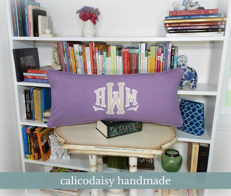 Large Applique Monogram Pillow Cover  14 x 28 OR 14 x 36 image 0