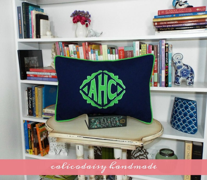The Veronique Applique Framed Monogrammed Pillow Cover  14 x image 0
