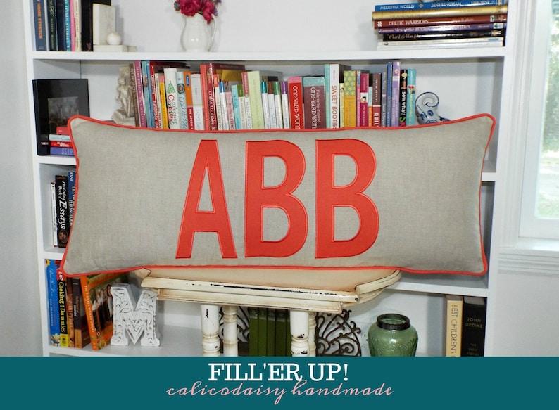 FILL'ER UP Large Applique Monogram Pillow Cover  14 x 24 image 0