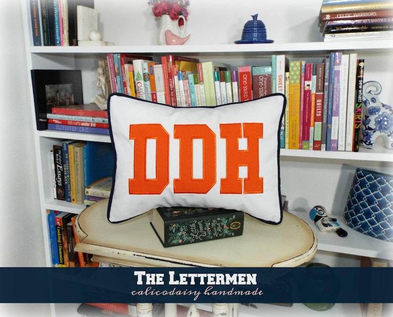The Lettermen Large Applique Monogram Pillow Cover  12 x 16 image 0