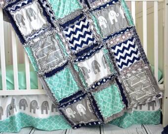 Éléphant de lit literie garçon - bébé literie ensembles - Jungle Safari chambre de bébé - Set - Rag édredon, feuille, jupe, pare-chocs pour berceau Set-bleu marine / gris / menthe