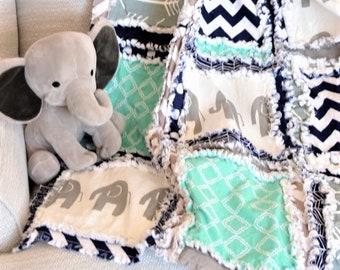 Elephant Baby Boy Rag Quilt, Crib Bedding, Boy Nursery Bedding