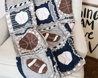 Baby Boy Sports Crib Size Rag Quilt for Nursery Crib Bedding - Navy / Blue / Gray - Includes Footballs / Baseballs / Basketballs