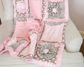 Rag Quilt for Baby Girl Crib Bedding, Light Pink and Gray with Ruffle Flowers, Baby Shower Gift