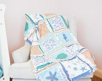 Beach Rag Quilt Nursery Decor, Baby Gift, Handmade Quilts for Sale