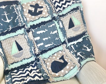 Nautical Rag Quilt Nursery Decor, Baby Gift, Handmade Quilts for Sale