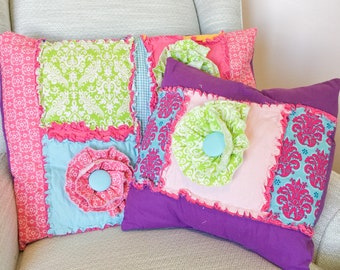 Decorative Pillows with Flowers, Custom Pillow Cover, Girls Room Decor, Pick Your Own Size