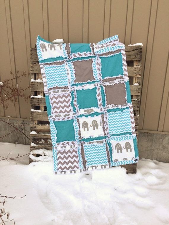 elephant crib bedding baby boy nursery rag quilts turquoise etsy. Black Bedroom Furniture Sets. Home Design Ideas