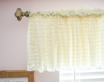 Cream Curtain Valance Ruffle Window Treatment for Home Decor - Kitchen, Nursery, Office, Studios, Bedrooms, Living Room!