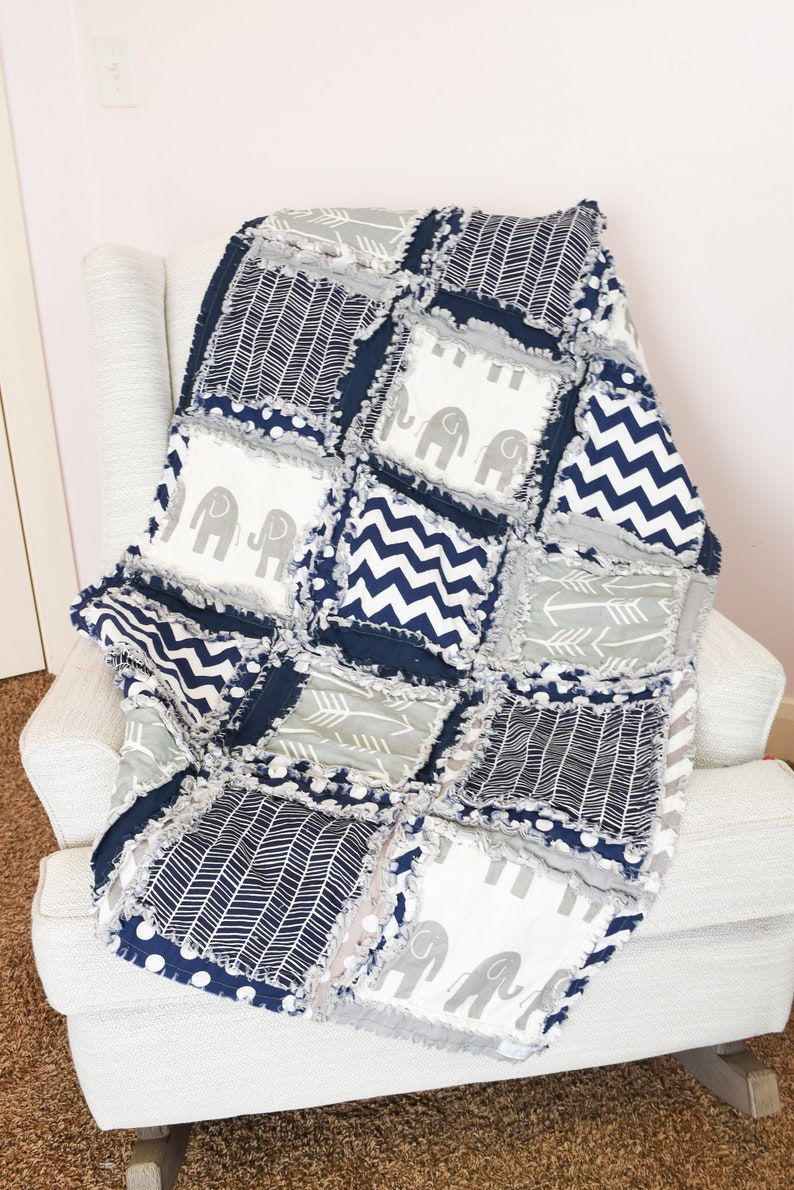 Elephant Baby Rag Quilt Baby Boy Handmade Quilts for Sale image 0
