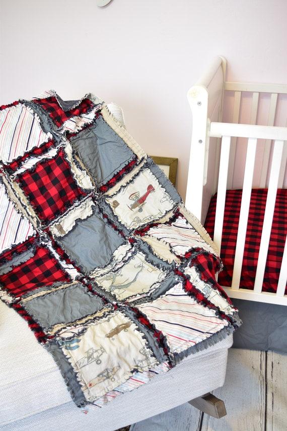 Vintage Airplane Baby Boy Nursery Crib Size Rag Quilt Gray