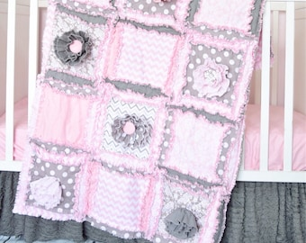 Baby Girl Crib Bedding Set, Handmade Baby Girl Quilts, Baby Rag Quilt, Light Pink and Gray
