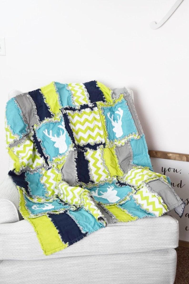Woodland Baby Blanket Rag Quilt for Boy Nursery Bedding  image 0