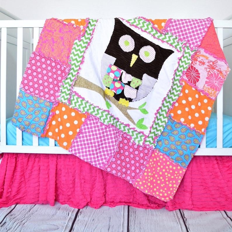Owl Quilt Pattern - Owl Crib Bedding Baby Quilt Pattern - Applique Quilt  Pattern - Make a Rag Quilt Sewing Pattern- Owl Baby Blanket Pattern