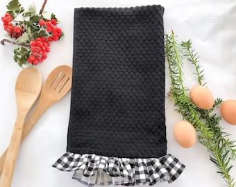 Black and White Ruffled Buffalo Plaid Kitchen Towel, Wedding Gift, Housewarming Gift for Farmhouse Decor