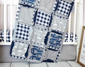 Bear Nursery Baby Bedding, Baby Boy Rag Quilt, Build Your Own Crib Bedding Set