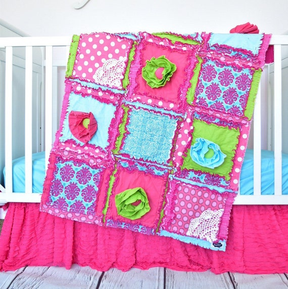Pink Girls Bedding Baby Rag Quilt Mint Crib Bedding Pink  Yellow  Turquoise Baby Nursery Modern Nursery Girl Crib Bedding Baby Blanket