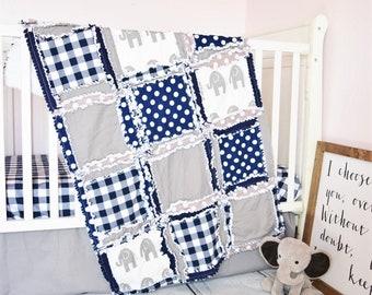Elephant Crib Bedding Rag Quilt, Baby Boy Safari Nursery, Gray and Navy Blue
