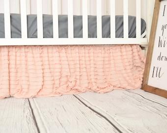 Blush Ruffled Crib Skirt Light Pink Dust Ruffle for Baby Girl Crib Cottage Chic Nursery Decor