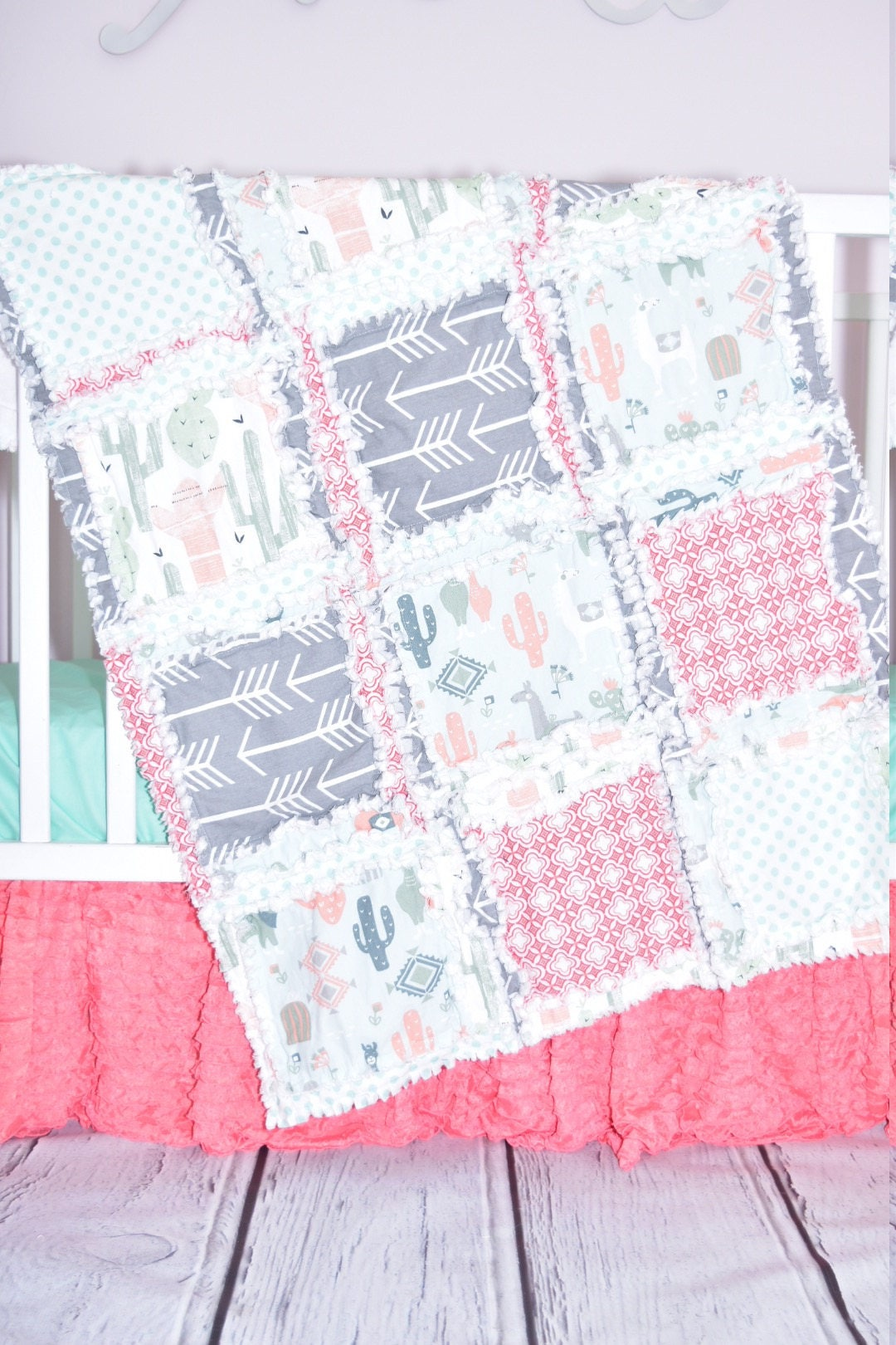 Mint 7pcs Unicorn Conical Gradient Color Makeup Brushes: Llama Blanket Coral/ Gray/ Mint Crib Bedding Cactus