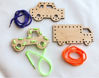 Wooden Lacing Toy Set, Vroom - Cars - Trucks - Pickups, Birthday Gift for Kids