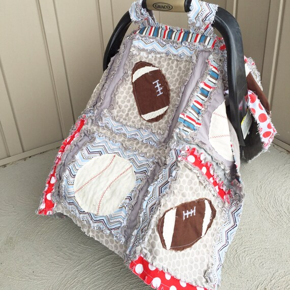 Car Seat Canopy Sports Rag Quilt Blanket Red Blue Gray