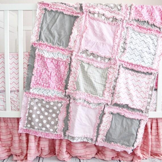 Pink Baby Bedding Crib Set Grey, Baby Girl Pink And Grey Cot Bedding