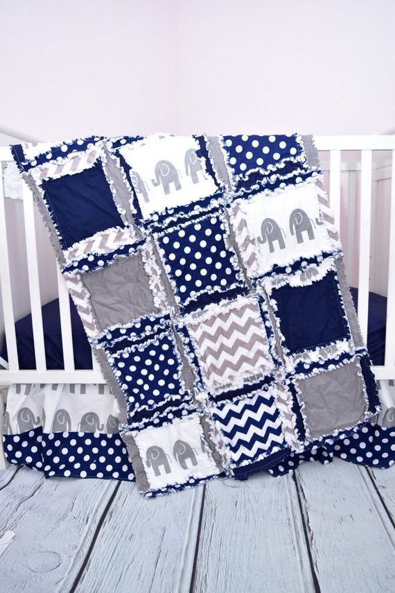 Elephant Crib Set For Baby Boy Nursery Decor Navy Blue Gray Crib Size Rag Quilt Sheet Skirt Optional Bumpers