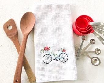 Bike Art Kitchen Towels, Farmhouse Kitchen Decor, Bicycle Art